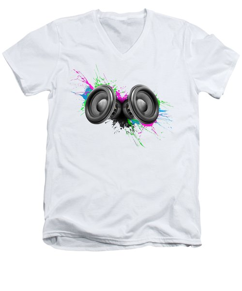 Music Speakers Colorful Design Men's V-Neck T-Shirt by Johan Swanepoel