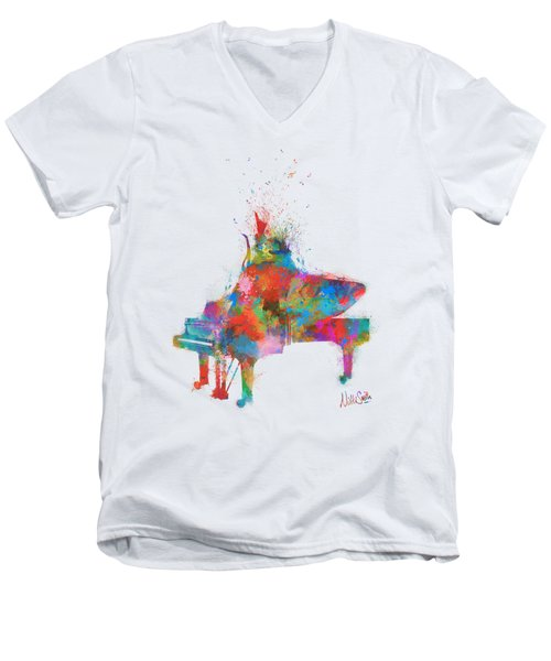 Men's V-Neck T-Shirt featuring the digital art Music Strikes Fire From The Heart by Nikki Marie Smith