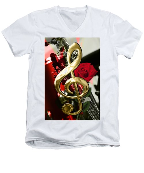 Musical Clef Rose Electric Guitar Art Men's V-Neck T-Shirt by Marvin Blaine