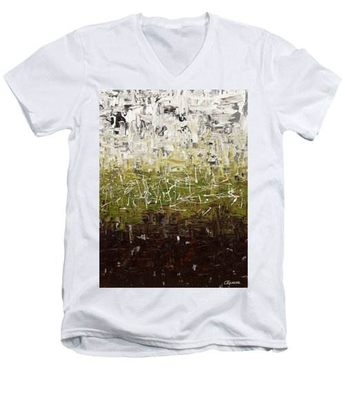 Men's V-Neck T-Shirt featuring the painting Musing by Carmen Guedez