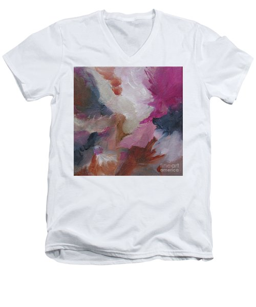 Men's V-Neck T-Shirt featuring the painting Musing124 by Elis Cooke