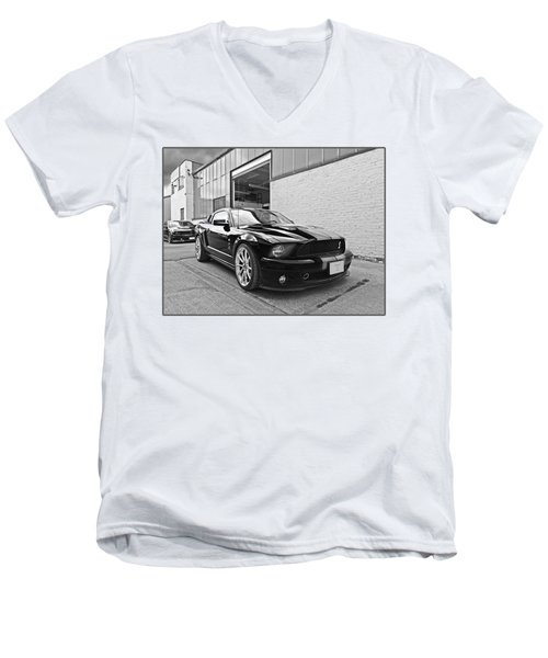 Mustang Alley In Black And White Men's V-Neck T-Shirt by Gill Billington