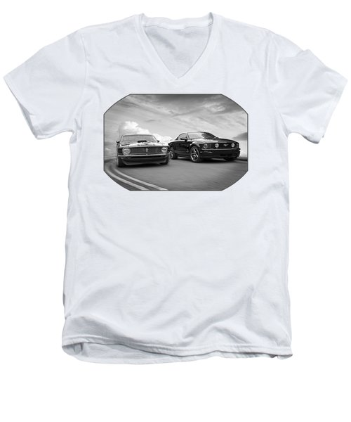Mustang Buddies In Black And White Men's V-Neck T-Shirt by Gill Billington