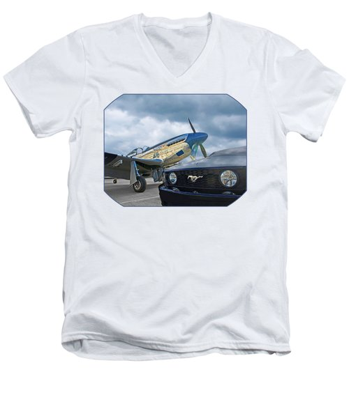 Mustang Gt With P51 Men's V-Neck T-Shirt
