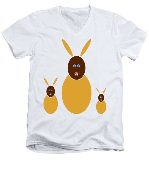 Mustard Bunnies Men's V-Neck T-Shirt by Frank Tschakert
