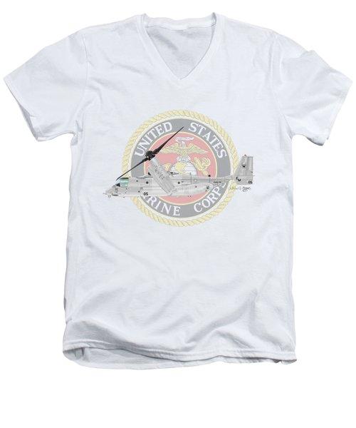 Mv-22bvmm-261 Men's V-Neck T-Shirt by Arthur Eggers