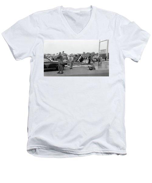 Mva At Shopping Center Men's V-Neck T-Shirt by Paul Seymour