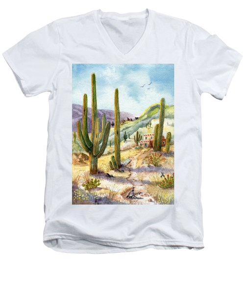 Men's V-Neck T-Shirt featuring the painting My Adobe Hacienda by Marilyn Smith