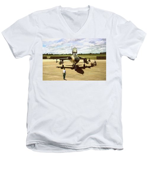 Men's V-Neck T-Shirt featuring the digital art My Baby F-105 by Peter Chilelli