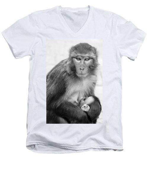My Baby Men's V-Neck T-Shirt by James David Phenicie