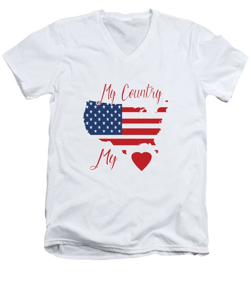 My Country My Heart Men's V-Neck T-Shirt