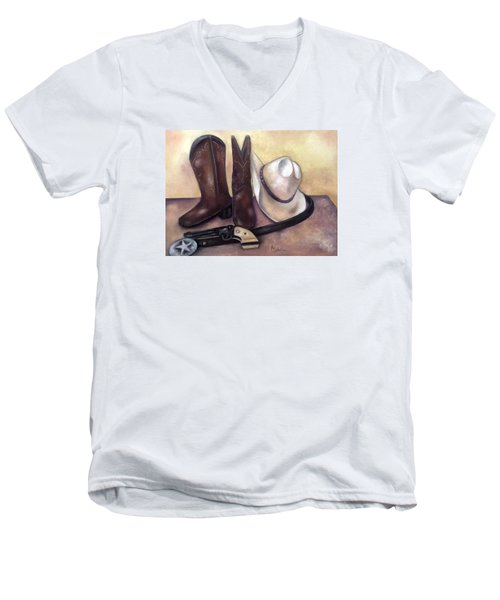 Men's V-Neck T-Shirt featuring the painting My Cowboy's Home by Annamarie Sidella-Felts