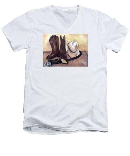 My Cowboy's Home Men's V-Neck T-Shirt by Annamarie Sidella-Felts
