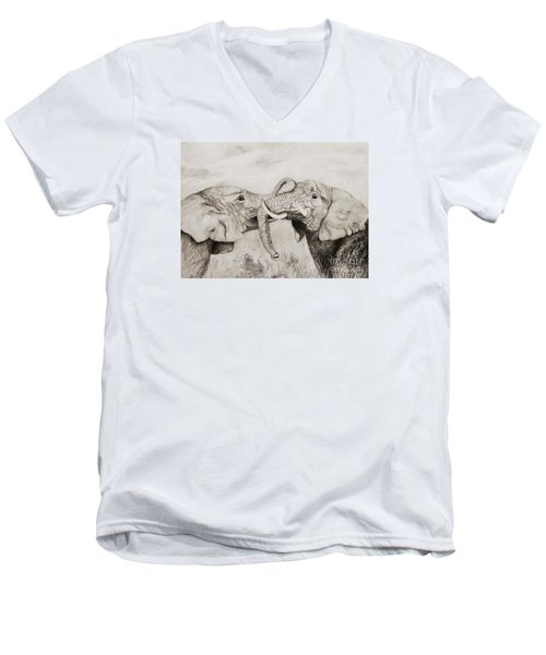 Men's V-Neck T-Shirt featuring the drawing My Dad Is Bigger Than Your Dad by John Stuart Webbstock