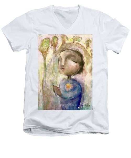 Men's V-Neck T-Shirt featuring the mixed media My Faith by Eleatta Diver