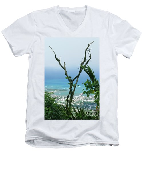 My Favorite Wishbone Between A Mountain And The Beach Men's V-Neck T-Shirt by Heather Kirk