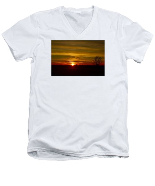Men's V-Neck T-Shirt featuring the photograph My First 2016 Sunset Photo by Dacia Doroff