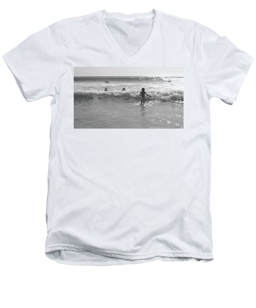 My Fist Time In The Sea Men's V-Neck T-Shirt by Beto Machado