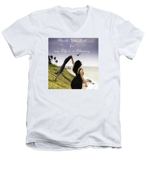 My Life A Blessing Men's V-Neck T-Shirt by Leticia Latocki