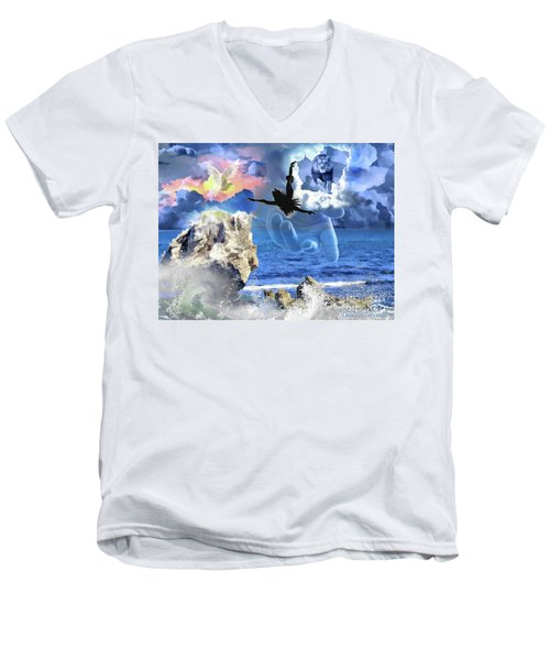 Men's V-Neck T-Shirt featuring the digital art My Savior by Dolores Develde