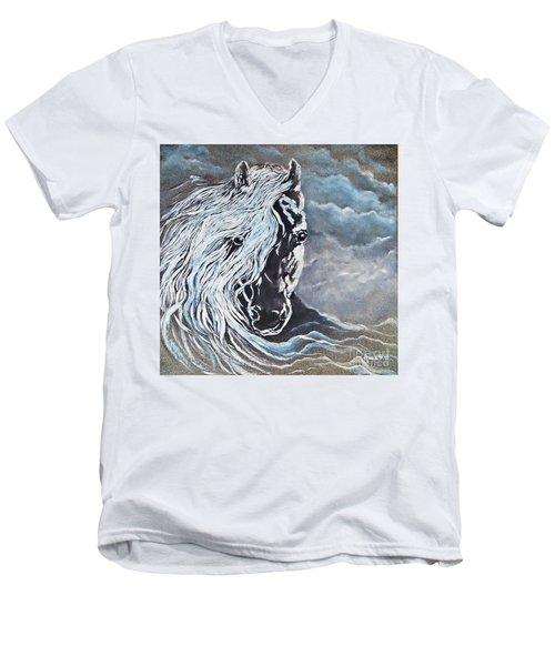 My White Dream Horse Men's V-Neck T-Shirt by AmaS Art
