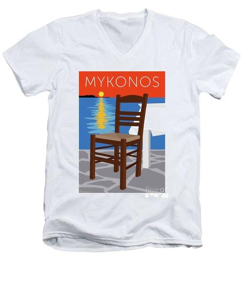 Mykonos Empty Chair - Orange Men's V-Neck T-Shirt