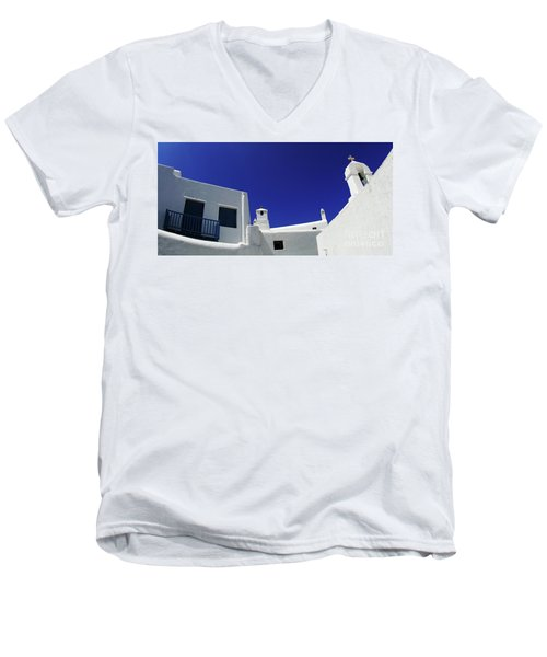 Men's V-Neck T-Shirt featuring the photograph Mykonos Greece Clean Line Architecture by Bob Christopher