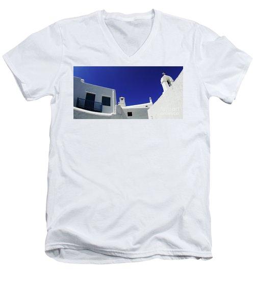 Mykonos Greece Clean Line Architecture Men's V-Neck T-Shirt by Bob Christopher