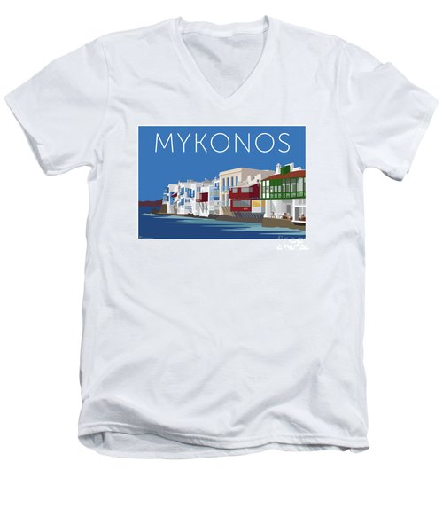 Mykonos Little Venice - Blue Men's V-Neck T-Shirt