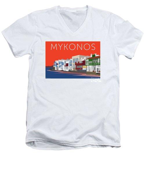 Mykonos Little Venice - Orange Men's V-Neck T-Shirt