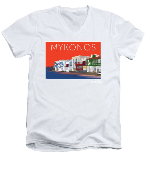 Mykonos Little Venice - Orange Men's V-Neck T-Shirt