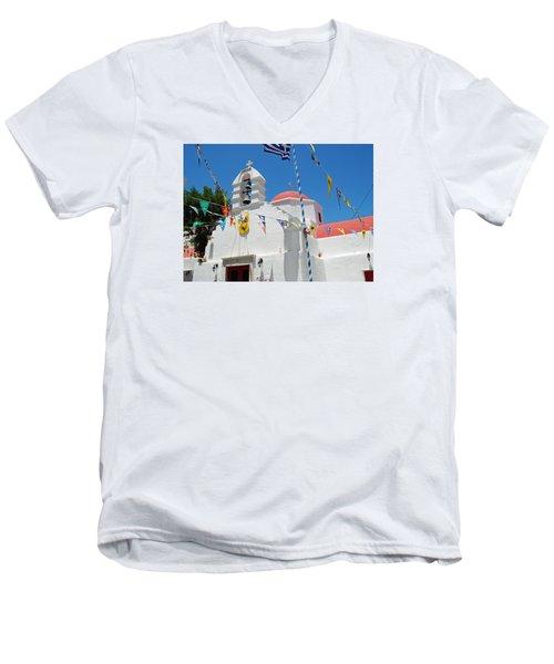 Mykonos Red Chapel Men's V-Neck T-Shirt by Robert Moss