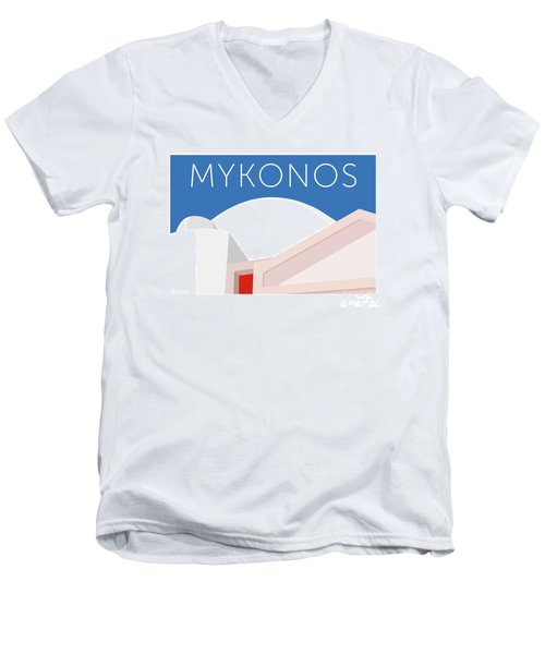 Mykonos Walls - Blue Men's V-Neck T-Shirt