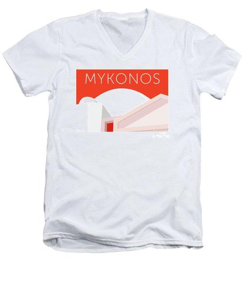 Mykonos Walls - Orange Men's V-Neck T-Shirt