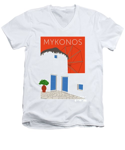 Mykonos Windmill - Orange Men's V-Neck T-Shirt