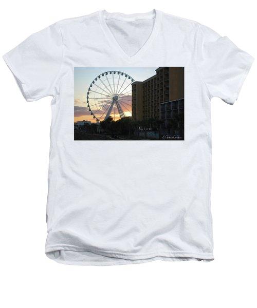 Myrtle Beach Sunset 2 Men's V-Neck T-Shirt by Gordon Mooneyhan