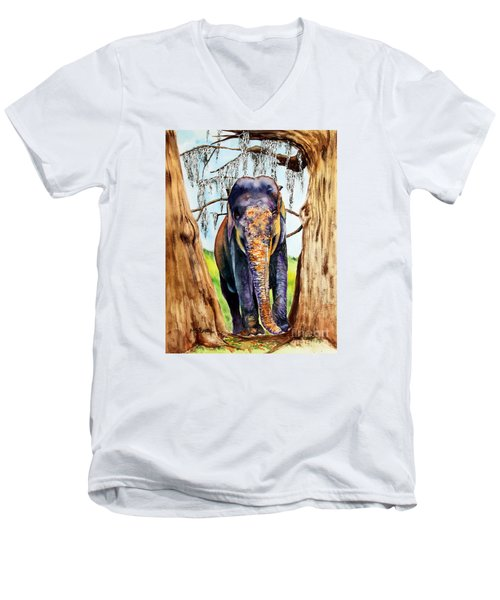 Men's V-Neck T-Shirt featuring the painting Mysore by Maria Barry
