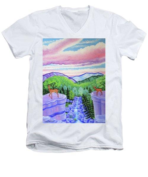 Mystic Mountain Men's V-Neck T-Shirt by Tracy Dennison