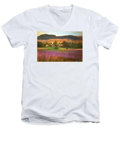 Men's V-Neck T-Shirt featuring the digital art N. Troy Vt. by John Selmer Sr