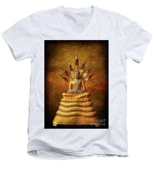 Men's V-Neck T-Shirt featuring the photograph Naga Buddha by Adrian Evans