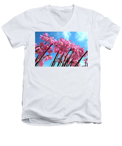 Men's V-Neck T-Shirt featuring the photograph Naked Ladies by Vivian Krug Cotton