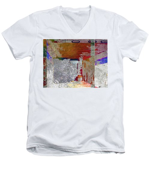 Men's V-Neck T-Shirt featuring the mixed media Name This Piece by Tony Rubino