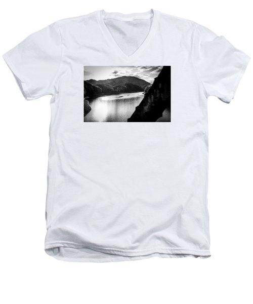 Nantahala River As Seen From The Great Smokey Mountain Railroad Men's V-Neck T-Shirt by Kelly Hazel