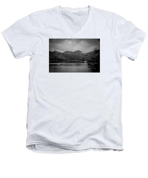 Nantahala River Great Smoky Mountains In Black And White Men's V-Neck T-Shirt by Kelly Hazel