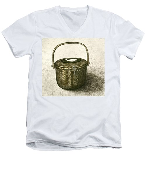 Nantucket Basket Men's V-Neck T-Shirt by Charles Harden