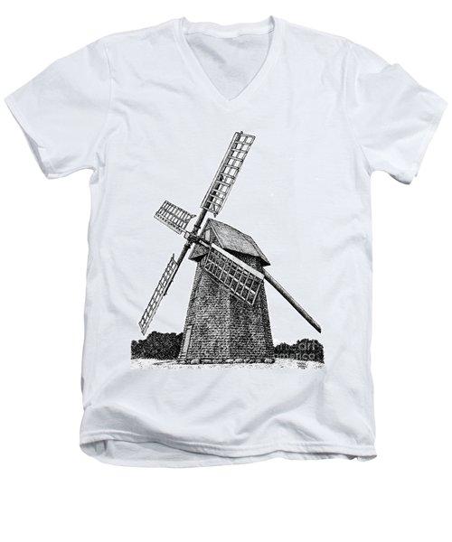 Nantucket Windmill Number One Men's V-Neck T-Shirt