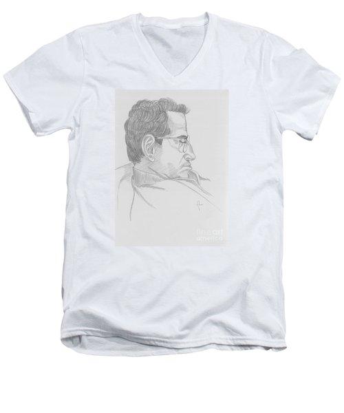 Men's V-Neck T-Shirt featuring the drawing Nap by Annemeet Hasidi- van der Leij