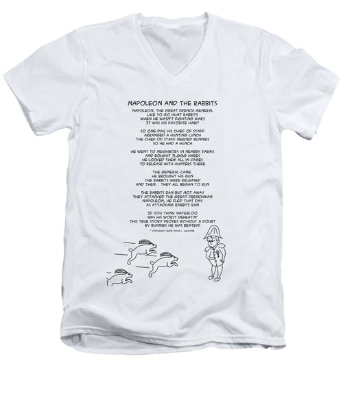 Men's V-Neck T-Shirt featuring the drawing Napoleon And The Rabbits by John Haldane