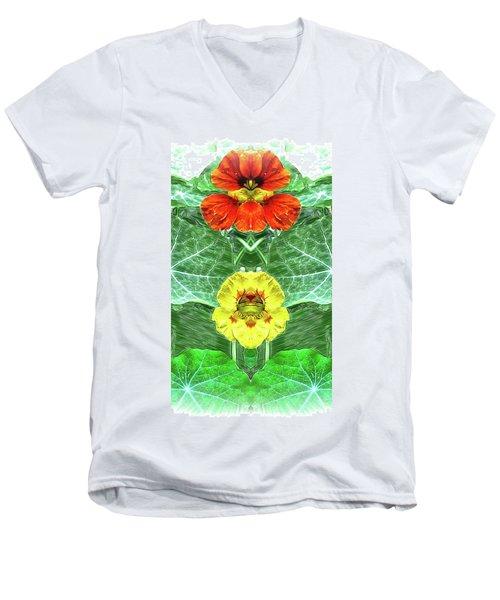 Nasturtium Mirror Image Pareidolia Men's V-Neck T-Shirt