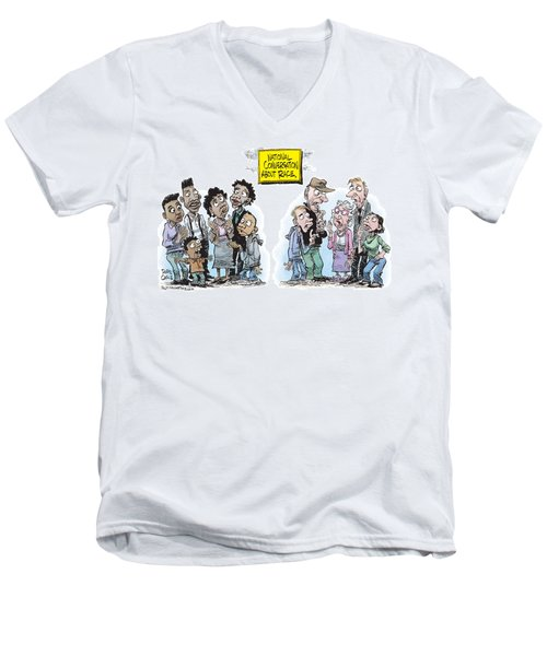 Men's V-Neck T-Shirt featuring the drawing National Conversation About Race by Daryl Cagle